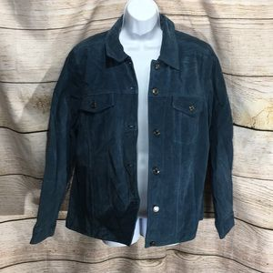 D & Co Denim and Company Large Blue Leather jacket